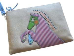 e52919e7cac2 Tory Burch Horse Large Zip Pouch Clutch Grey Leather Wristlet - Tradesy