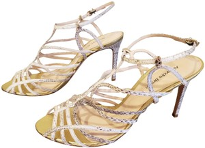 Alexandre Birman New Embossed Snake Stilettos Strappy Beige and gold Sandals