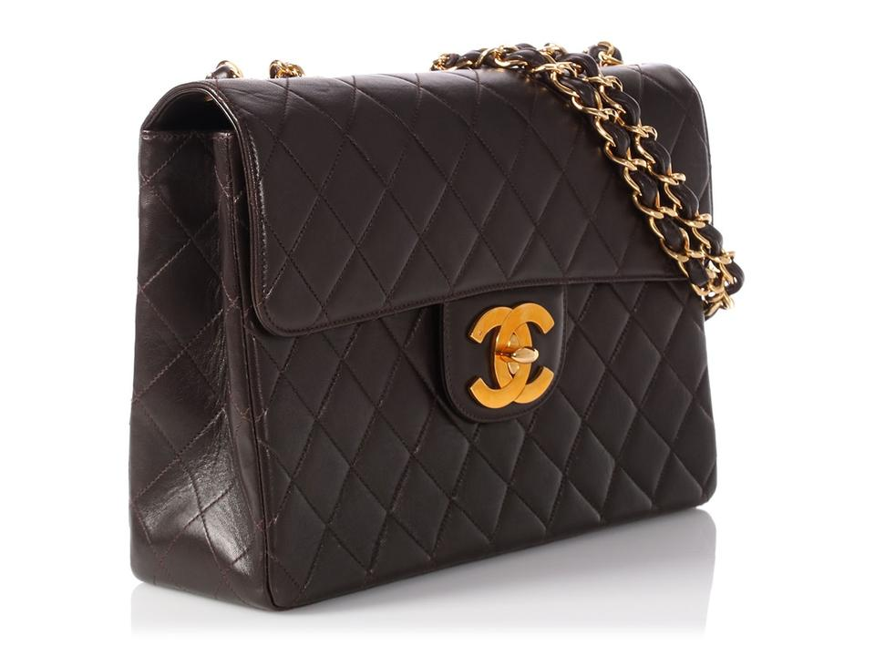 121741f8c6e9 Chanel Classic Flap Single Jumbo Vintage Quilted Dark Brown Lambskin  Leather Shoulder Bag - Tradesy