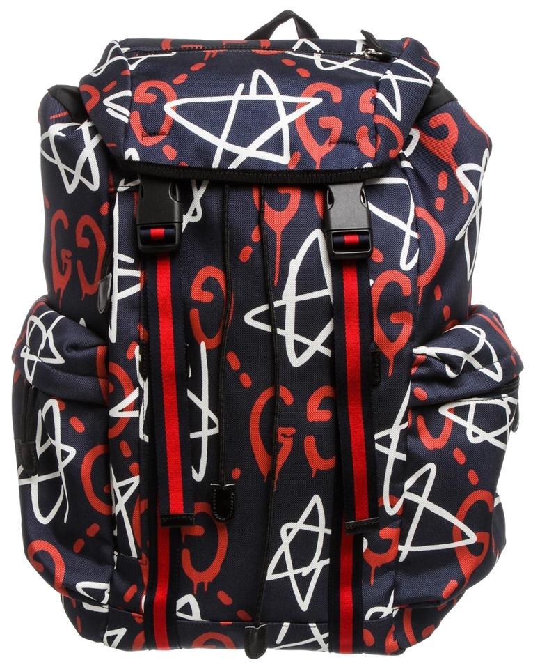 79f01e5a910c Gucci Guccighost Multicolor Navy Red and White Canvas Leather ...