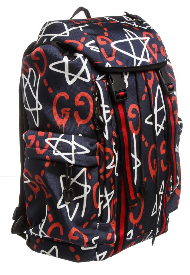 444e8ee42e2b0f Gucci Guccighost Multicolor Navy Red and White Canvas Leather Backpack -  Tradesy