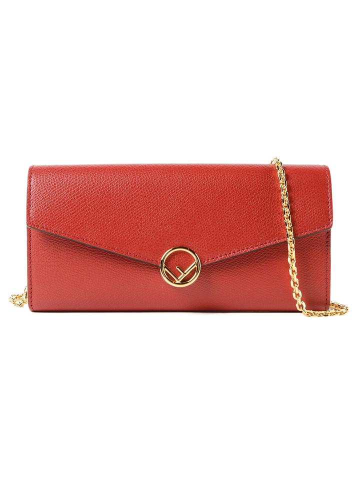 8e7d18eb00 Fendi Chain F Continental Envelope Mini Red Calfskin Leather Shoulder Bag  10% off retail