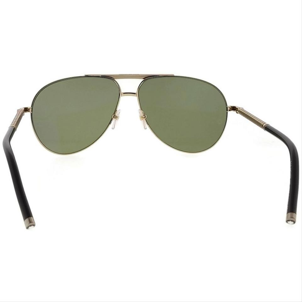 e6d0fb3bd2 Montblanc MB517S-28R-62 Aviator Men s Gold Frame Green Lens Polarized  Sunglasses Image 5. 123456