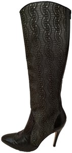 Manolo Blahnik Stiletto Leather Laser Cut Forest Green Boots