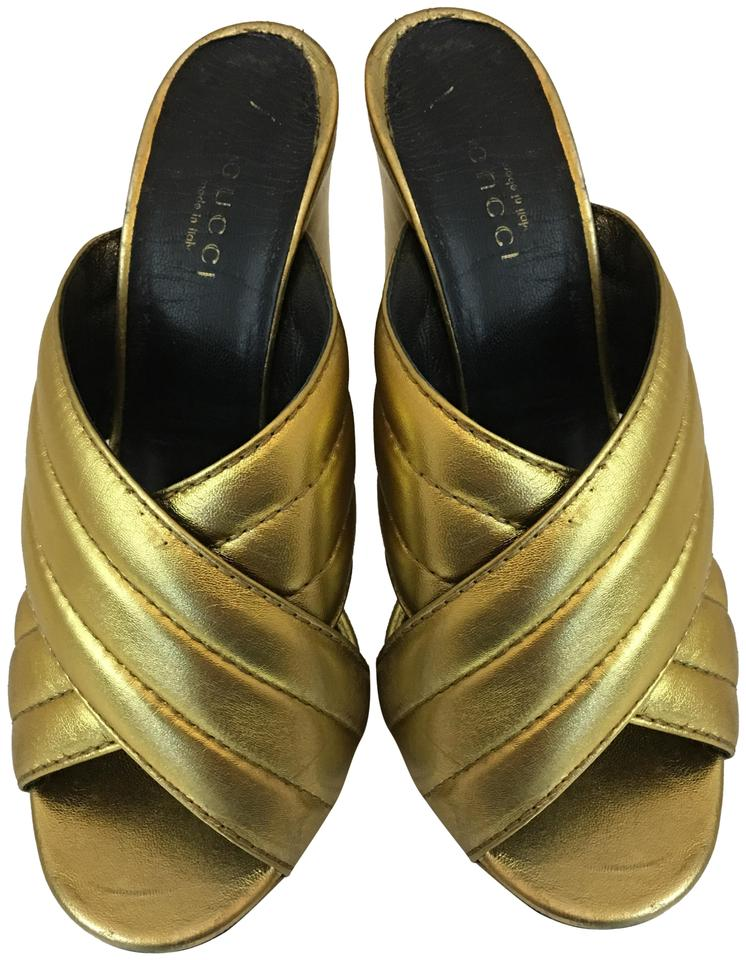 9236634f Gucci Gold 121218 Leather Criss Cross Sandals Mules/Slides Size EU 36.5  (Approx. US 6.5) Regular (M, B) 63% off retail