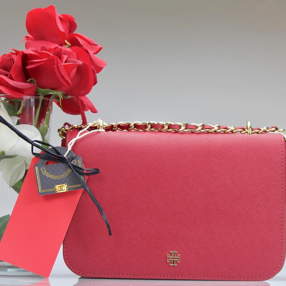 5b7f31e0243 Tory Burch Emerson Adjustable Shoulder Red Leather Cross Body Bag ...
