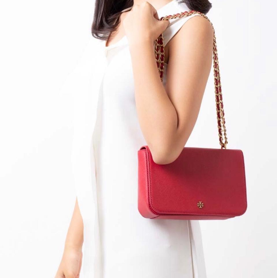 2f4bba3f9b0e Tory Burch Emerson Adjustable Shoulder Red Leather Cross Body Bag ...
