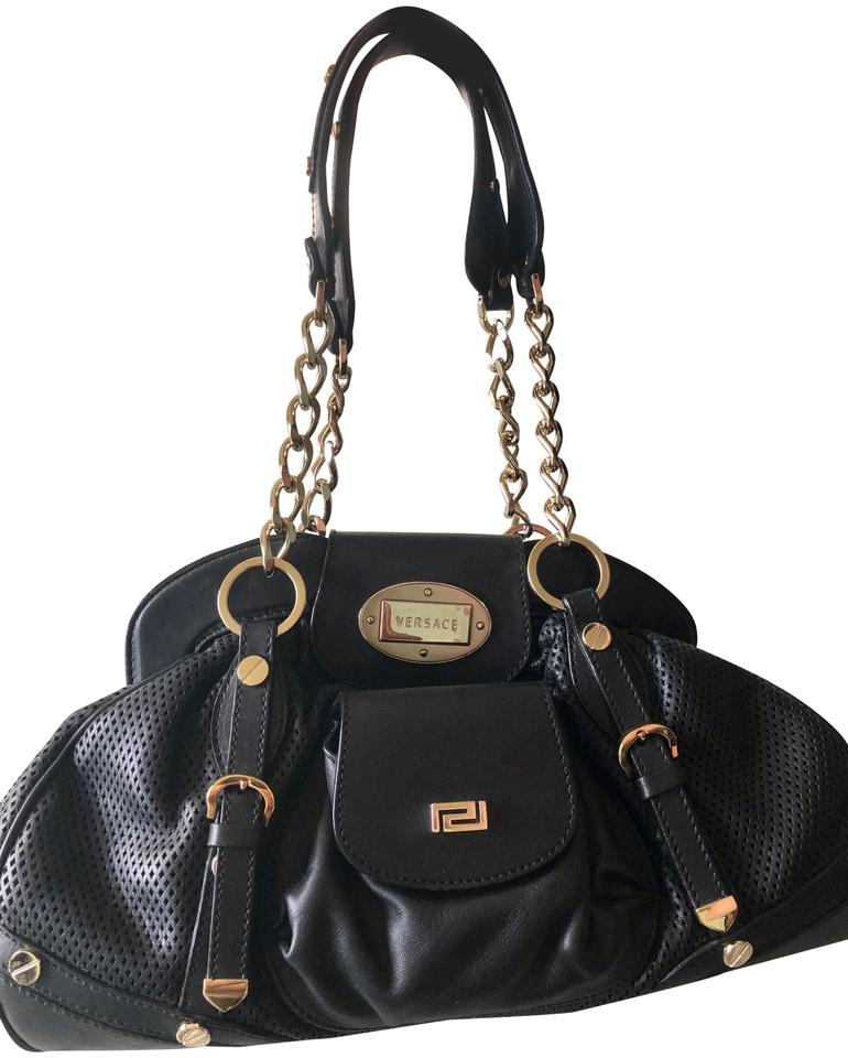 e190b12edaf4 Versace Golden Chain Link Perforated Black Leather Satchel - Tradesy