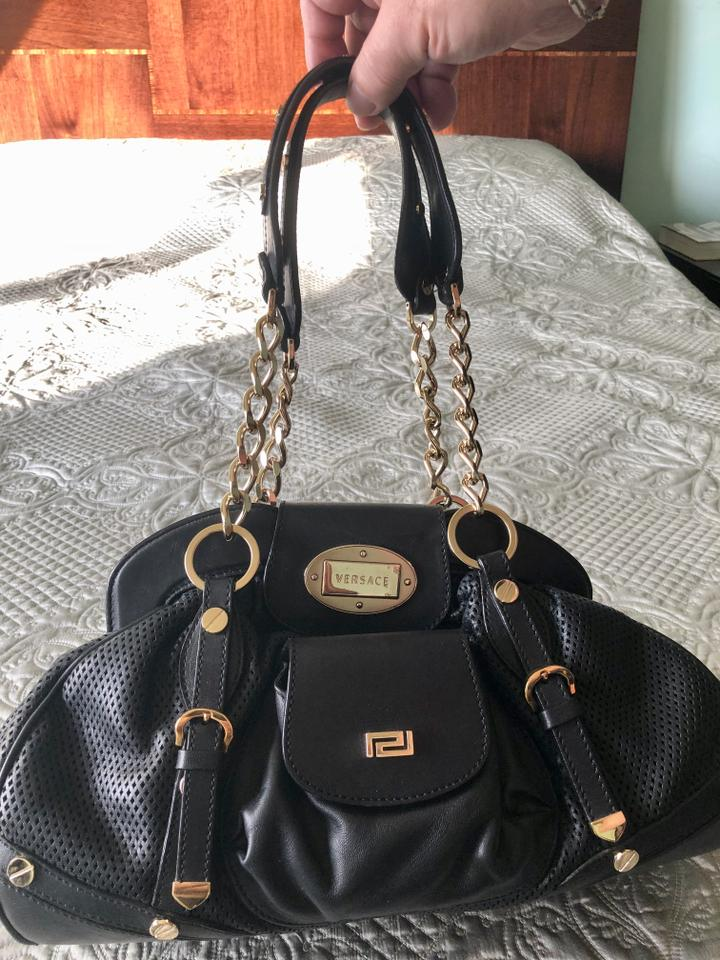 dafeb77e4dd5 Versace Golden Chain Link Perforated Black Leather Satchel - Tradesy