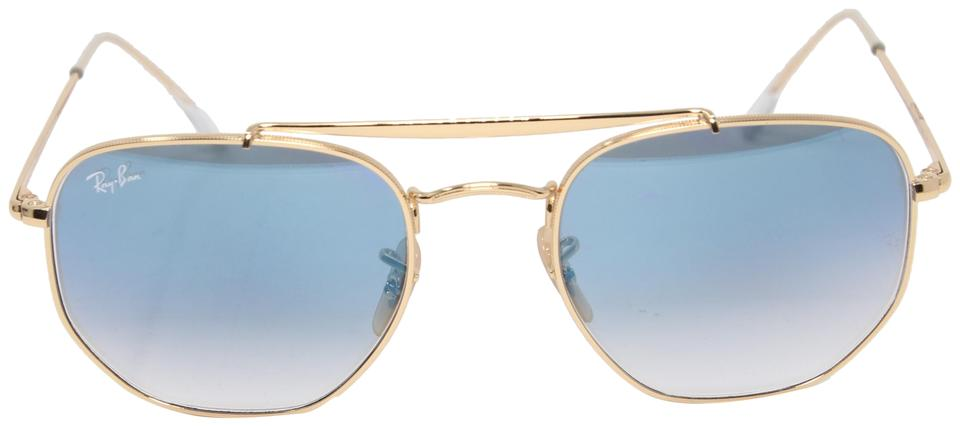 efd6022c13faa Ray-Ban Gold The Marshal Light Blue Gradient Hexagonal Frame Pilot Rb3648  Sunglasses