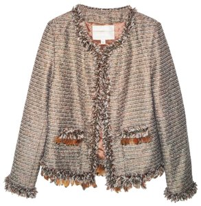 Boston Proper Feathers Chains Tweed Blazer