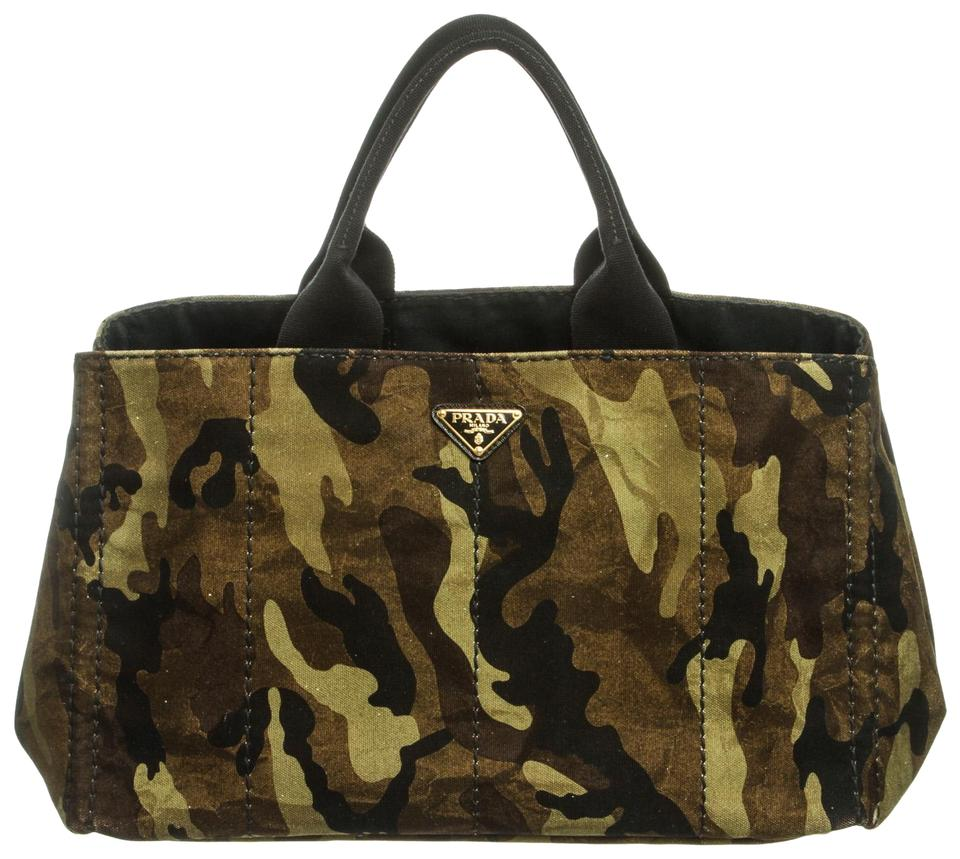 0a4857118804 Prada Canapa Double Handle Large Camouflage and Black Canvas Tote ...