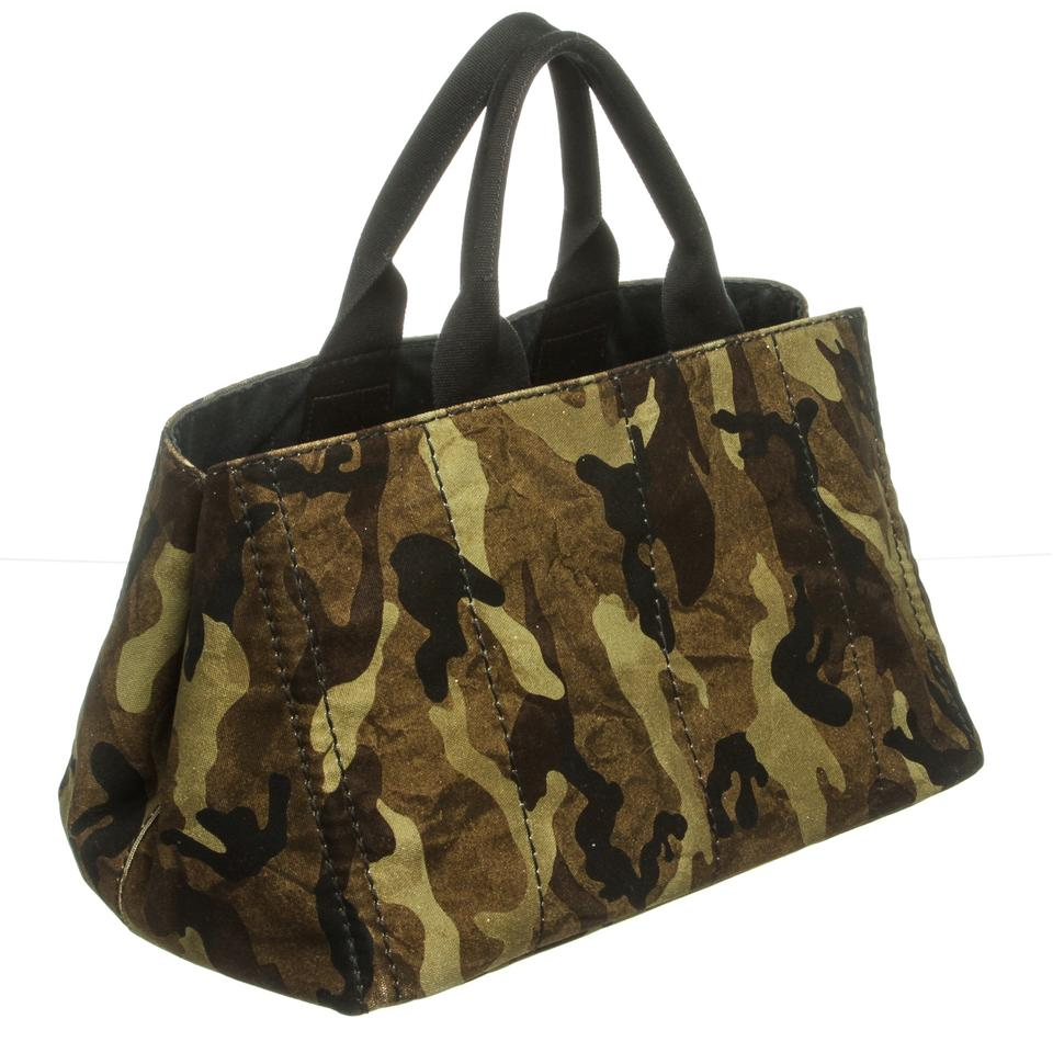 4e3574f39930 Prada Canapa Double Handle Large Camouflage and Black Canvas Tote - Tradesy