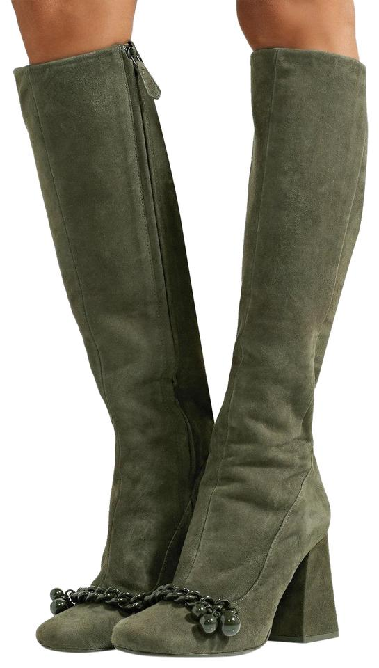 e60704c6aa89f2 Tory Burch Green Addison Chain-trimmed Suede Knee In Boxwood Boots Booties
