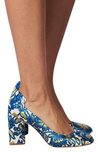 Tory Burch Chunky Floral Blue Pumps