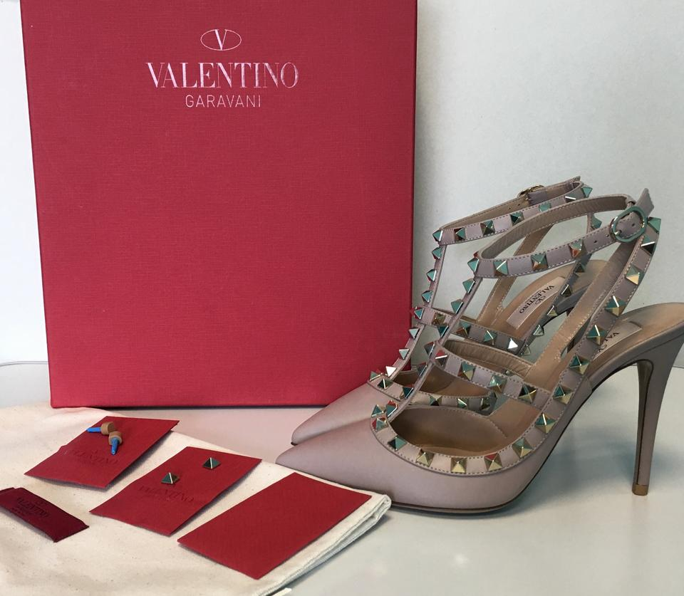08d066482b3a Valentino Poudre Nude Classic Rockstud Embellished Matte Leather Point-toe  Cage Heels Pumps Size EU 38 (Approx. US 8) Regular (M