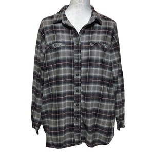 Urban Outfitters Button Down Shirt Gray Black Wine