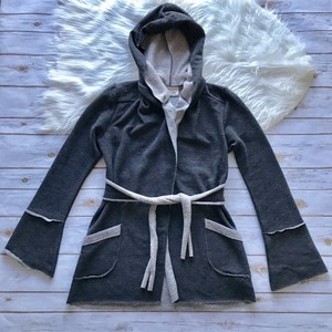 Lucy Love Charcoal Gray Hooded Cardigan Sweater
