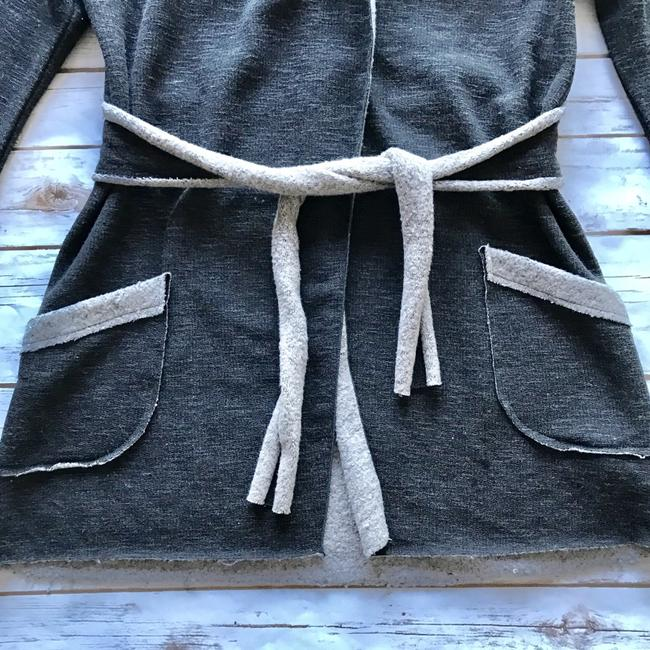 Lucy Love Charcoal Gray Hooded Cardigan Sweater Image 1