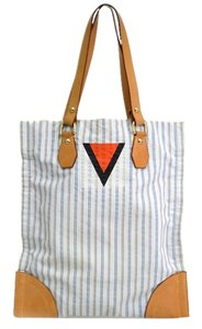 Louis Vuitton Tanger 2002 Mens Collection Tanger Blue White Tote in Striped