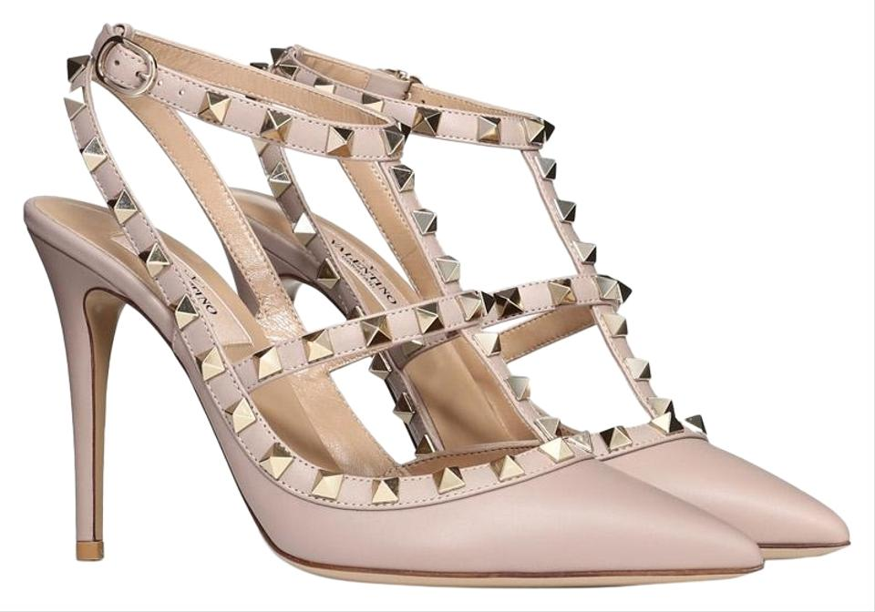 new cheap save off cheap sale Valentino Poudre Nude Classic Rockstud Embellished Matte Leather ...