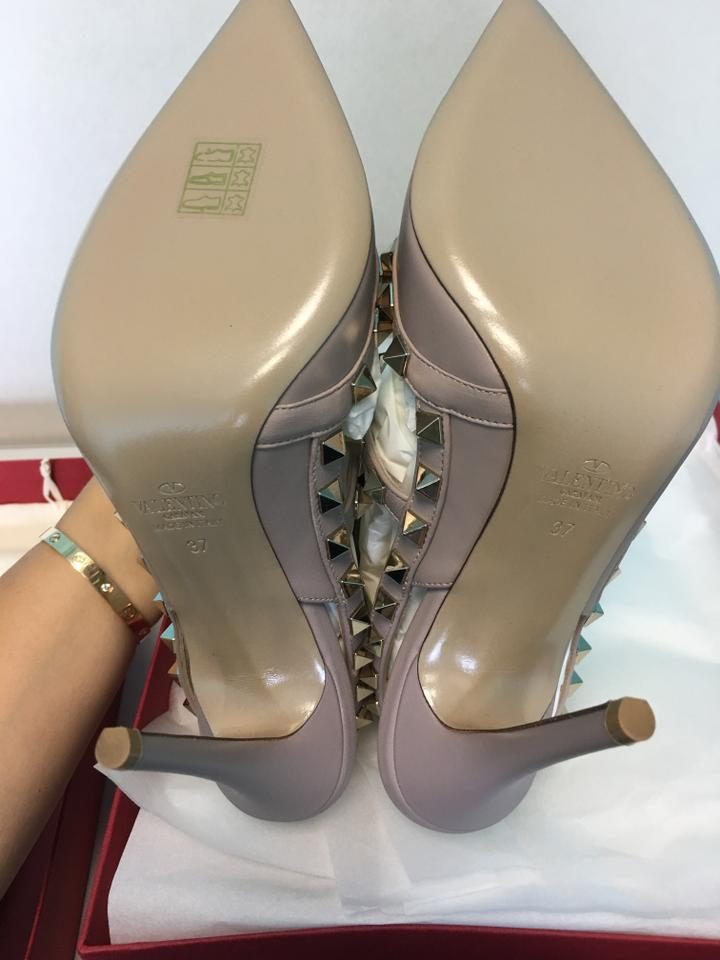 9771d1497ac9 Valentino Poudre Nude Classic Rockstud Embellished Matte Leather Point-toe  Cage Heels Pumps Size EU 37 (Approx. US 7) Regular (M