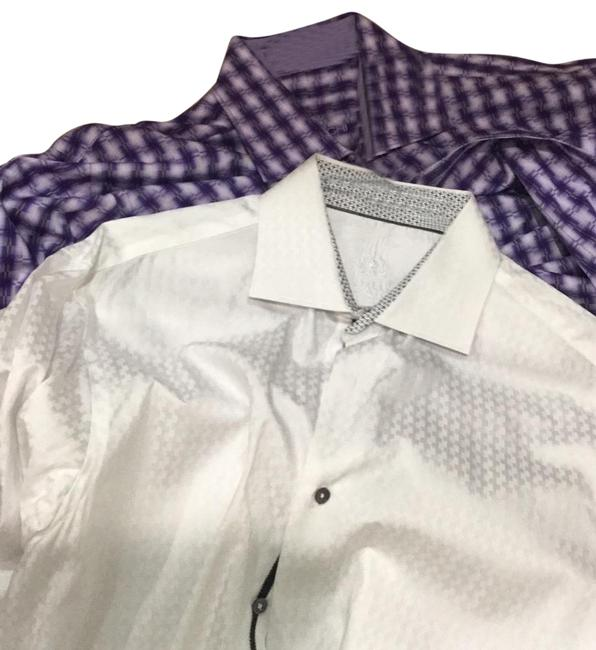 Item - Purple White Mens Dress Shirts Classic Fit See Sizing Chart Button-down Top Size 14 (L)