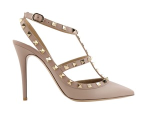Valentino Leather Gold Hardware Studded Nude Pumps