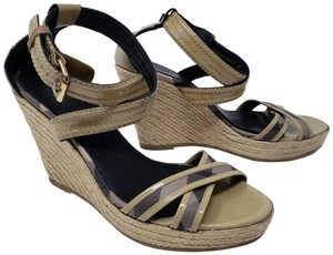 Burberry Espadrille Nova Check Gold Hardware Patent Leather Ankle Strap Beige Sandals