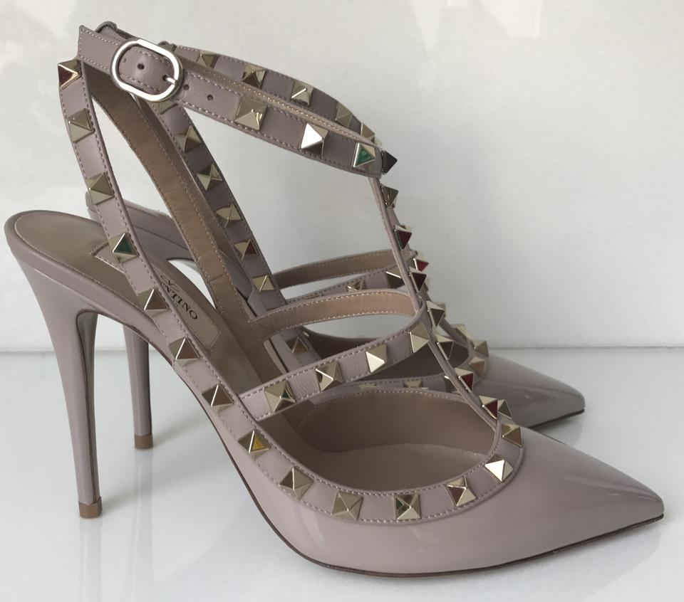 192ead1f992a Valentino Nude Classic Poudre Rockstud Embellished Cage Patent Leather  100mm Pumps Size EU 39 (Approx. US 9) Regular (M