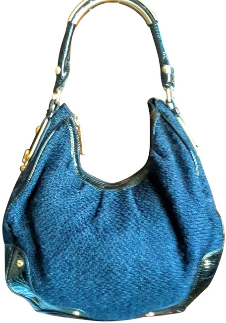 Item - Navy and Black Patent Leather Hobo Bag