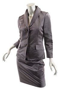 Pamela Dennis PAMELA DENNIS Steel Gray 100% Silk Satin Skirt Suit w/Fab 'Leaf' Buttons - US10