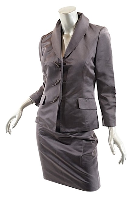 Item - Steel Gray W Silk W/Fab 'leaf' Buttons - Us10 Skirt Suit Size 10 (M)