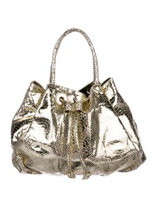 Carlos Falchi Xl Size Satchel/Tote Mint Condition Unique Two-way Style C. Satchel in gold snakeskin leather