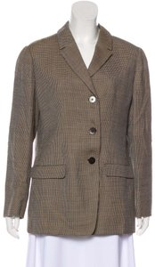 Giorgio Armani Mint Vintage Great Separate One Button Style 50's 'boyfriend Cut' Dressy Or Casual tan, beige and black plaid print lightweight wool Blazer