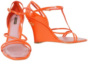 Louis Vuitton Patent Leather Strappy Orange Wedges