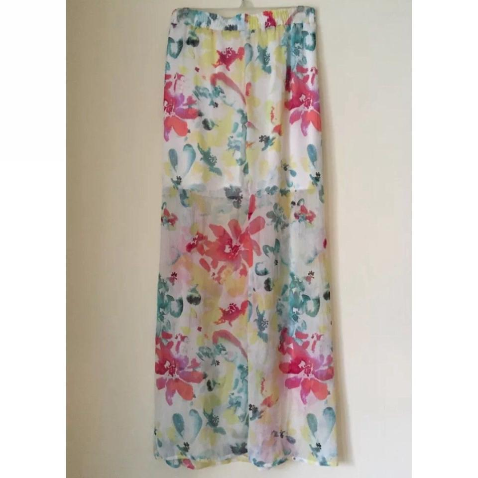 1b5551c0d Jack by BB Dakota Plus-size Floral Flower Double Maxi Skirt off white pink  green. 1234