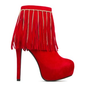 ShoeDazzle Fringe Velvet Sexy Red Boots