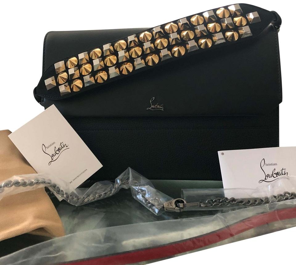 c889fdc0fff Christian Louboutin Loubiblues Leather Satchel Black/Red Cross Body Bag 30%  off retail