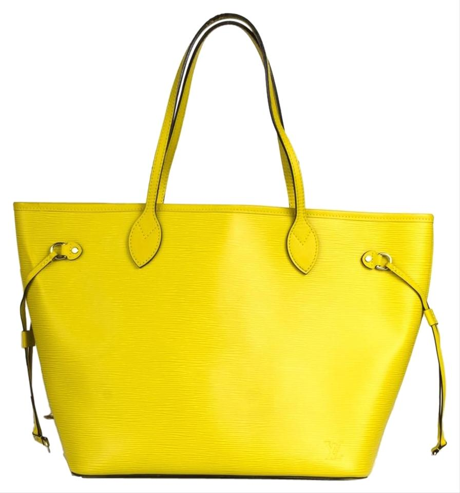 7b07aa3f63 Louis Vuitton Neverfull Citron Epi Mm Tote Green Leather Shoulder ...