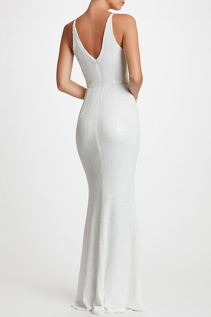Dress The Population White Sequin Harper Mermaid Gown Long Formal