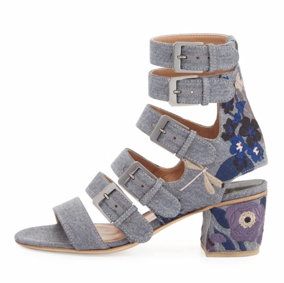 edfd715da92 Laurence Dacade Embroidered Denim Tropical-embroidered Sandals Size ...