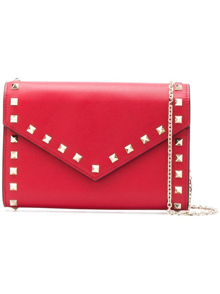 c1396bf288be Valentino Rockstud Envelope Pouch with Chain Red Leather Cross Body ...