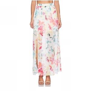 Jack by BB Dakota Floral Flower Double Sheer Maxi Skirt off white pink green