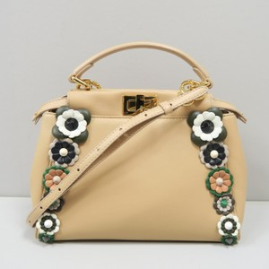 Fendi Peekaboo Mini Satchel in Beige