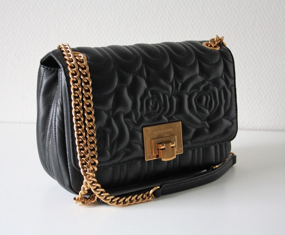 cab08f7bd288 Michael Kors Vivianne Chain Quilted Floral Sloan Black Leather ...