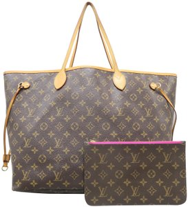aaa0997e9fef Louis Vuitton Neverfull W Gm W Pouch Brown Canvas Shoulder Bag - Tradesy