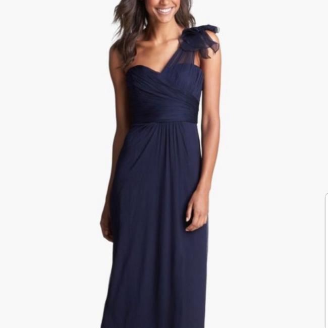 Item - Navy Silk Crinkle One Shoulder Chiffon Gown Feminine Bridesmaid/Mob Dress Size 12 (L)