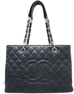 Chanel Caviar Grey Grand Shopping Tote Gst Shoulder Bag