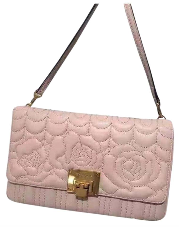 7f5c88625a40 Michael Kors Clutch Vivianne Chain Quilted Floral Large Sloan Pink Leather  Shoulder Bag